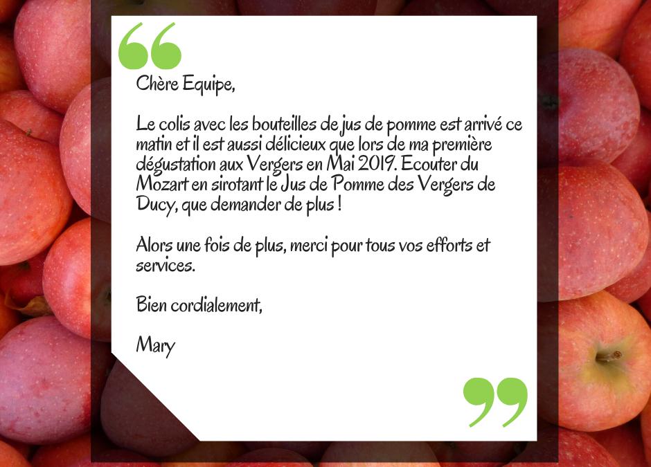 (Français) Recommandation d'une cliente : siroter notre jus de pomme en écoutant Mozart !
